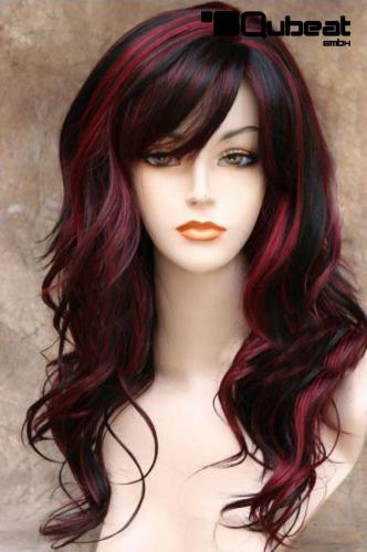 Haarfarbe schwarz auf rot